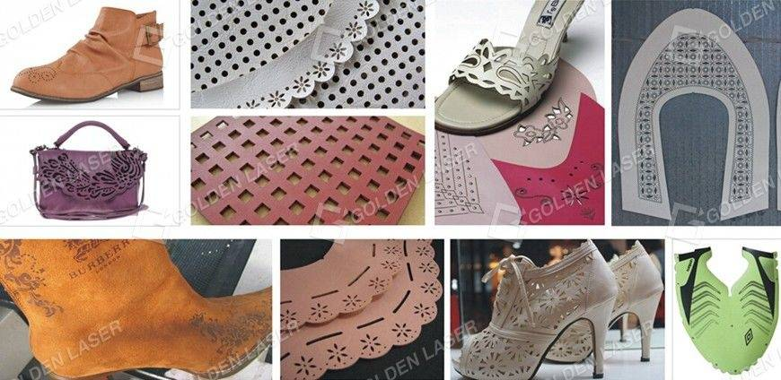 leather and shoes laser engraving cutting hollowing samples